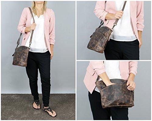 LECONI Umhängetasche für Damen Schultertasche Freizeittasche Damentasche Frauen Ledertasche Handtasche Vintage-Style Leder 36x27x8cm LE3050 schlamm – waxy