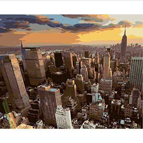 Hyllbb DIY ölgemälde New York City Gebäude Sonnenuntergang Wolken Diy Malen Nach Zahlen Acrylfarbe Nach Zahlen Kit Landschaft Wandbilder-40 * 50Cm,Without Frame -
