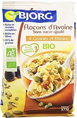 Bjorg Flocons Avoine Graines Raisins Bio 375 g