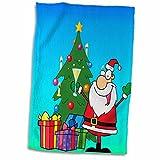 3dRose Jingle Bell Babbo Natale e albero su uno sfondo blu al verde chiaro, colore: Bianco, 15x 55,9cm
