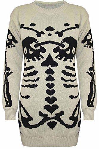 Damen Halloween Skelett Knochen Bedruckt Enganliegend Tunika Kleid Top 8 10 12 14 - Stein - Crew Rundhals Horror Bodycon Kleid, 36 - Ribbed Knit Tunika