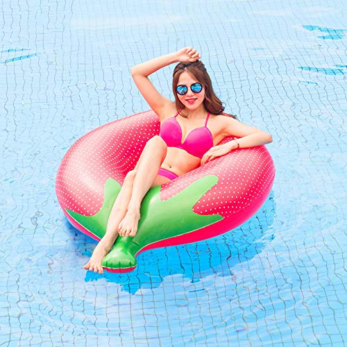 Übergroße Erwachsene Nette Erdbeer-sich Hin- Und Her Bewegende Bettschwimmende Reihe, Kinderschwimmring Aufblasbares Spielzeug Des Wassers,Strandspielzeug-140x100cm