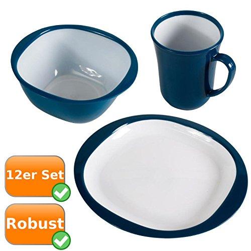 Robustes Picknick-Geschirr im praktischen 12er Set, bestehend aus 4 Tassen, 4 Schüsseln, 4 Teller, ideal für Ihren Campingurlaub, die Festivalsaison oder bei Wanderungen, Farbe: blau-weiß