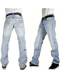 Peviani Hommes Bleu Glace G Jeans, Urbain Portway Étoile Droit Ajusté Hip Hop Pantalon