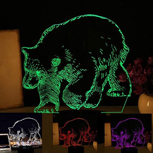 HPBN8 3D Bär Eisbären Lampe USB Power 7 Farben Amazing Optical Illusion 3D wachsen LED Lampe Formen Kinder Schlafzimmer Nacht Licht【7 bis 15 Tage in Deutschland angekommen】