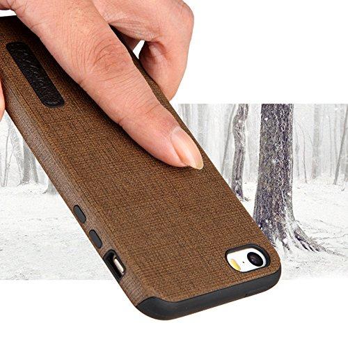 """MOONCASE iPhone 5/iPhone 5s/iPhone SE Hülle, Weich TPU Kratzfest Stoßfest Schutztasche [Fabric Pattern] Schroff Rüstung Handysocken Case für iPhone 5s/iPhone SE 4.0"""" Blue-1 Yellow-1"""