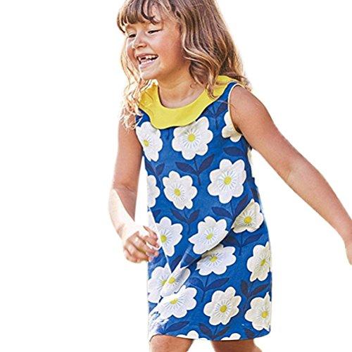 JERFER Mädchen Cartoon Vogel Druck Stickerei Streifen Kleid T-Shirt Top Bluse Kurzarm Shirt