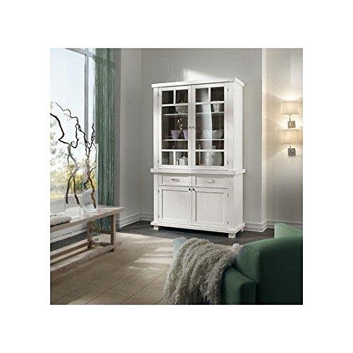 Armoire vitrine DISPENSA bois massif laqué blanc-COUNTRY DESIGN voir photo et Blanc Ivoire