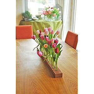 Blumenvase aus Holz und Glas, Holzvase, Vase mit Reagenzglas, Blumenwiese,