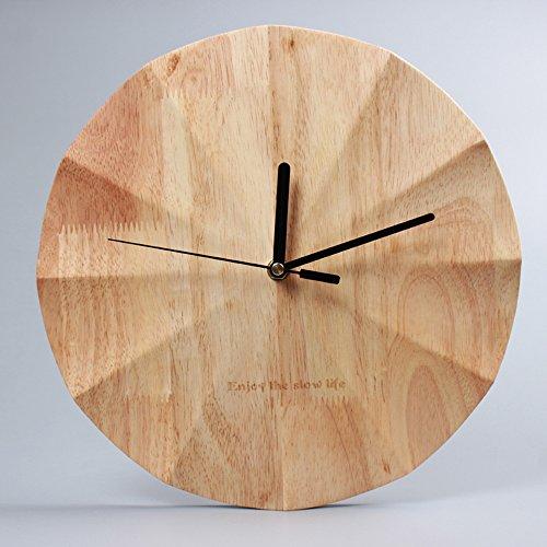 KKLOCK Wanduhr Uhr Wanduhren ohne Ticken Lautlos für Wohnzimmer Büro Schlafzimmer Küche Kinderzimmer Holz Wellenoberfläche Einfache Ø30cm Runde Großes Moderne [Enthält keine Batterie