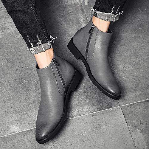 LOVDRAM Stiefel Männer Martin Boots Herren Winter Baumwolle Zu Helfen, Pu Inside Hohe Schuhe Zu Helfen, Die Spitze Chelsea Boots Kurze Stiefel, 41, Grau -