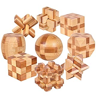 KBstore 9 Pcs Intermediate Difficulty Wooden Brain Teaser Puzzles Set - Educational Bamboo Block Interlocking Cube Puzzles - Ideal Logical Toys and Gifts for Kids and Adults