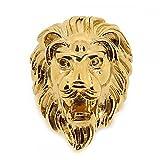 BOBIJOO Jewelry - Bague Chevalière Homme Tête de Lion Gipsy Gitan Forain Acier Doré Or Fin Astro - 73 (14 US), Acier inoxydable 316 - Doré or fin