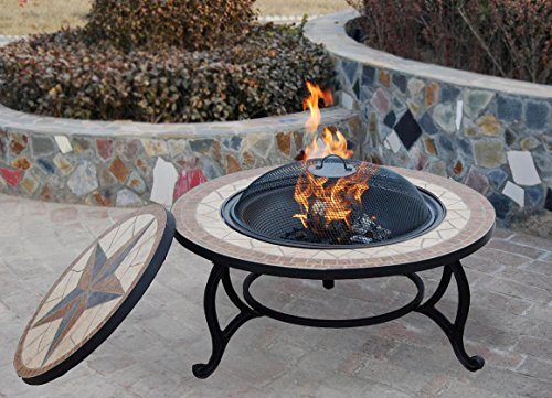 SALTILLO BBQ FIRE PIT FOR GARDEN WITH GRILL KIT for Cooking with Mosaic Outdoor Cooking Table - LOG Firepit Bowl for Patio Heater, WATERPROOF Rain Cover