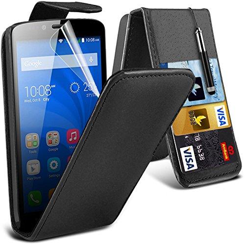 i-Tronixs ( Black ) Huawei Honor Holly Hülle Abdeckung Cover Case schutzhülle Tasche Premium Quality PU-Leder-Schlag mit 2 Kredit- / Bank-Karten-Slot-Kasten-Haut-Abdeckung mit LCD-Display Schutzfolie, Poliertuch und Mini-versenkbaren Stift