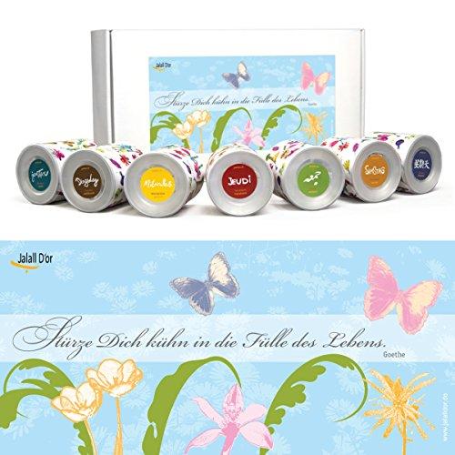 Geschenkset FÜLLE DES LEBENS (Goethe) von Jalall D'or mit 7 Dosen| Geschenkbox mit Trockenfrüchten & Nüssen | Geburtstagsgeschenk Mann & Frau | GESCHENK Frauen & Männer | Geschenke für Sie | für ihn