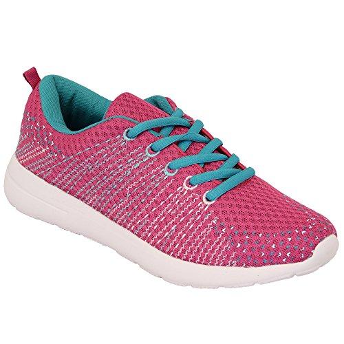 Damen Spitze Zum Schnüren Fitnessstudio Laufschuhe Turnschuhe Pink - TF01