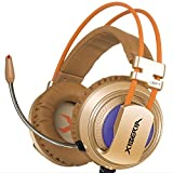 XIBERIA V10 PC Gaming Headset USB Surround Sound Over-Ear Kopfhörer mit Mikrofon für PC - Gold