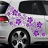 Baumgartner 66-teiliges Hibiskus BLÜTEN Hawaii Blumen Schmetterlinge Auto Aufkleber Set - SB_001 (010 weiß)