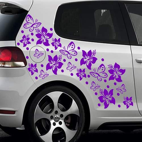 66-teiliges HIBISKUS BLÜTEN HAWAII BLUMEN SCHMETTERLINGE Auto Aufkleber Set - SB_001 (040 violett) (Blume Auto Aufkleber)