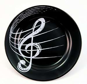 Assiette avec pince-clé de sol-cadeau pour les musiciens noir
