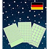 Paraboo Luminous Dots and Moon, Self-Adhesive Starry Sky, Fluorescent Stars, Green, Yellow, 50 cm, 30 cm