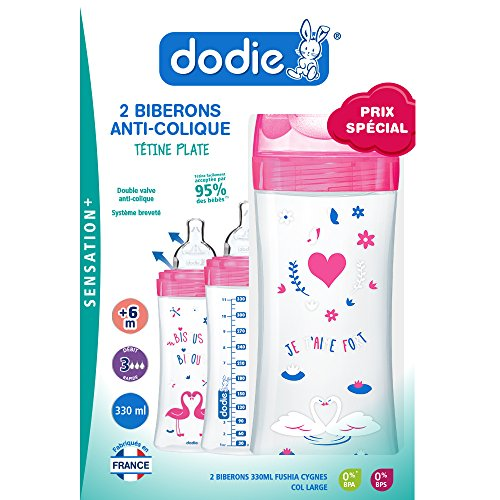 Dodie Sensation+ - Set de 2 biberones, 330 ml, color fucsia cisnes