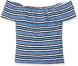 New Look Damen T-Shirt Multi Stripe Frill Bardot, Blau (Blue Pattern 49), 46