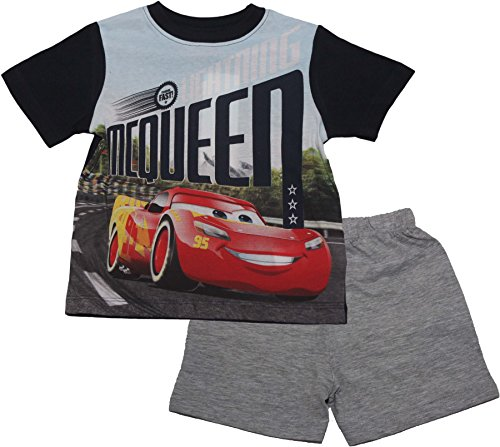 Disney Cars Lightning McQueen Kinder Short Sommer Pyjama Set (Grau, 3 Jahre)