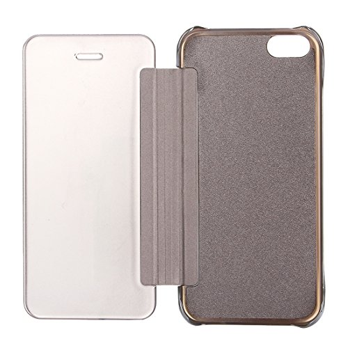 Wkae Case & Cover Pour iPhone SE &5s et 5 Electroplating Mirror Leather Case Flip Horizontal ( Color : Silver ) Silver