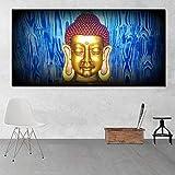 YUANOMWJ Quadro su Tela,Sorriso Azzurro Zen Zen Arte Elegante,Quadri su Tela Quadri Murali Stampe Senza Cornice Immagini Soggiorno Decorazione Domestica,30X60Cm(12X24Pollici)