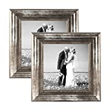 Photolini 2er Set Bilderrahmen 15x15 cm Silber Barock Antik Massivholz mit Glasscheibe und Zubehör/Fotorahmen/Barock-Rahmen