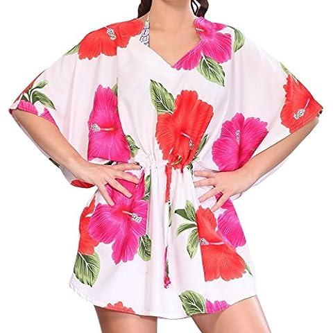 La Leela super-donne likre kimono ibisco floreale hawaiano 4 in 1 spiaggia di occultamento bikini tunica top abbigliamento casual di base plus size costume da bagno bikini donne KAFTAN