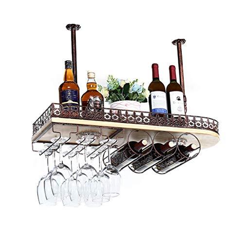 Einfaches europäisches Weinregal, hängendes Schmiedeeisen-Regal, Dekorationen, umgedrehter Weinglashalter, Home Bar-Weinregal