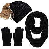 Aneco Damen Handschuh-Set Einheitsgröße Gr. Einheitsgröße, Black Set B