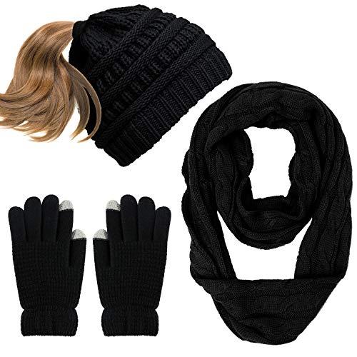 Aneco Winter Warm Beanie Knitted Beanie Hat And Gloves Set Set di Sciarpe e Guanti per Uomo e Donna