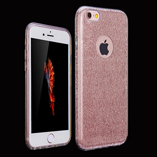 Etsue Glitter Silikon Schutzhülle für iPhone 6 Plus/6S Plus TPU Case, Bunte Schmetterling Blume Plating TPU Case Sparkle Strass Silikon Crystal Clear Case Bling Soft Back Cover Glitzer Kirstall Glänze 3 in 1:Rose Gold