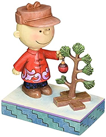 Jim Shore for Enesco Peanuts Charlie Brown with Tree Figurine, 5-Inch by Enesco Gift