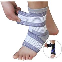 Fußgelenk-Bandage für den täglichen Gebrauch oder beim Sport zur Stabilisierung des Fuß bei z.B. Verstauchungen, Sprunggelenksverletzungen, Bänderriss, Außenbandverletzungen, Verletzungen des Syndesmosebandes, Bänderdehnung, Bänderzerrung - in grau-weiß geeignet für Männer und Frauen