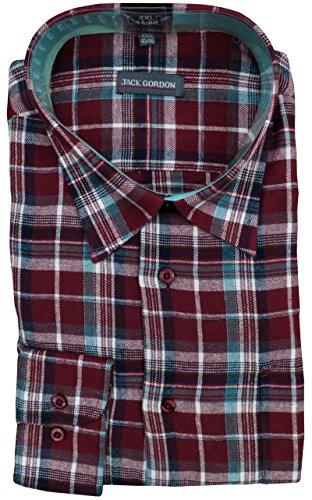 Herren Webflanellhemden von Jack Gordon, Kariert Kentkragen Flanellhemd auch Übergrößen 250 fein/Bordeaux
