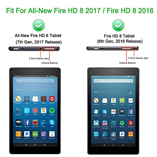 New Fire HD 8 2016 / All-New Fire HD 8 2017 Tablet Case Cover, Infiland Slim Cover Case Stand for All-New Fire HD 8 (6th Generation – 2016 release) Tablet /All-New Fire HD 8 Tablet with Alexa (7th Generation – 2017 release)(Black)