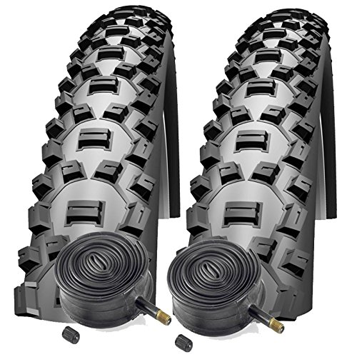 """Schwalbe Nobby NIC 26\"""" x 2.1 Mountain Bike Tyres with Schrader Tubes (Pair)"""