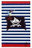 Capt'n Sharky Kinderteppich Weich und Soft, Teppich Piratenflagge 100x160 cm in Rechteck Farbe Blau, Kinderzimmer Teppich Öko-Tex zertifiziert, Bildmotiv für Jungen