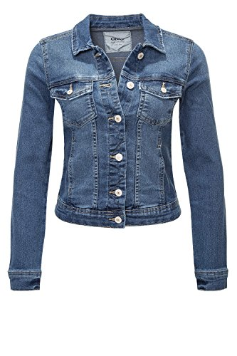 ONLY Damen Jeansjacke Übergangsjacke Leichte Jacke Denim Casual M, Medium Blue Denim / 2