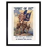 WAR WWI ENLIST US MARINE CORPS FLAG GUN SOLDIER FRAMED ART PRINT B12X12310