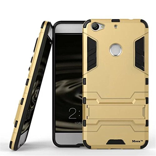 Moca(TM) LeTv 1s Case Cover [GOLD] [Dual Layer] [Shock-Absorption] [KickStand Feature] Full Body Hybrid Armor Defender Protective Back Case Cover for Letv Le 1S / LeEco Le 1s Eco / LeEco Le 1S Back Case Cover Case Armor defender Le Tv 1s Case Cover