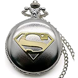 "SUPERMAN Gold Logo Polished Silver Finish Antiqued/Vintage Case Men's Quartz Pocket Watch Necklace - On 32"" Inch / 80cm Chain"