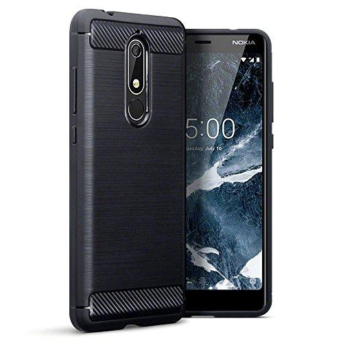 TERRAPIN, Kompatibel mit Nokia 5.1 Hülle, TPU Schutzhülle Tasche Case Cover mit Karbonfaser & Ausgebürstet Dessin - Schwarz