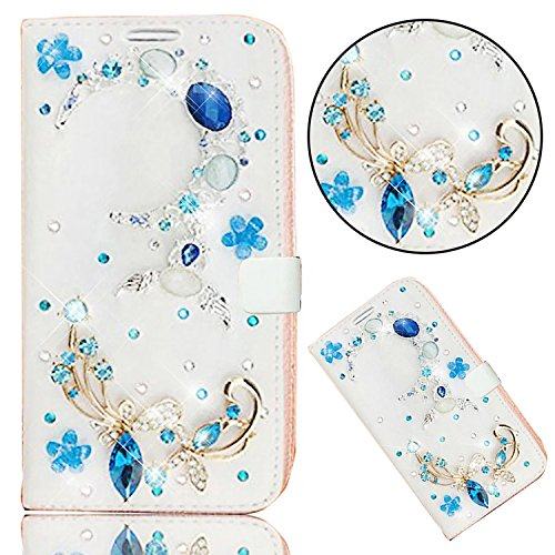 iPhone 8/iPhone 7 Custodia Pelle Folio e Glitter Bling Strass 3D DIY con Cinghie di telefono - Bonice Case Fatto a Mano Diamonte,PU Leather Con Super Sottile TPU Cover Interno,Morbido Protettiva Porta Diamante- Cover - 14