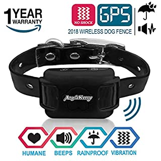 AngelaKerry GPS Outdoor Pet Containment System, Rechargeable Waterproof Beep Vibration Receiver, 800 Meters Control, for 15lbs-120lbs Dogs (Black)